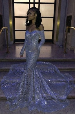 Mermaid Sweetheart Strapless Sequins Long Prom Dresses with Sleeves