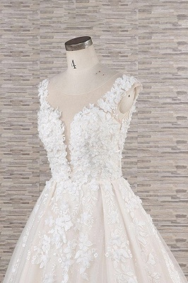 Chicloth Beautiful Lace Appliques Tulle A-line Wedding Dress_6