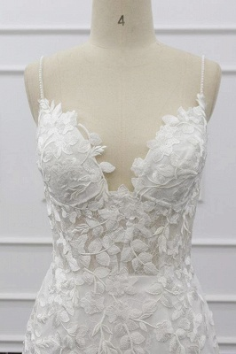 Chicloth Best Spaghetti Strap Appliques Mermaid Wedding Dress_6