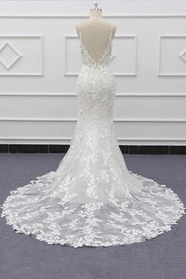Chicloth Best Spaghetti Strap Appliques Mermaid Wedding Dress_3