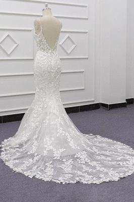 Chicloth Best Spaghetti Strap Appliques Mermaid Wedding Dress_5