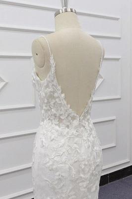 Chicloth Best Spaghetti Strap Appliques Mermaid Wedding Dress_8