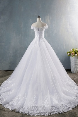 Chicloth Elegant Appliques Lace Tulle A-line Wedding Dress_3