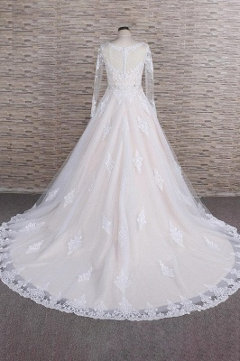 Chicloth Illusion Appliques Long Sleeve Tulle Wedding Dress_3
