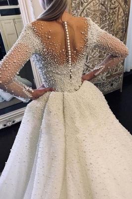 Chicloth Precious Long Sleeve Beading Sheath Wedding Dress_2