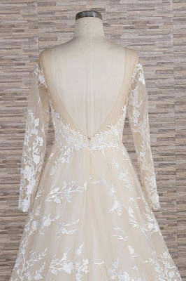 Chicloth Illusion Long Sleeve Applqiues Tulle Wedding Dress_7