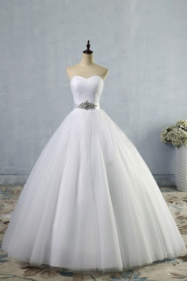 Chicloth Simple Ruffle Strapless Tulle A-line Wedding Dress_1