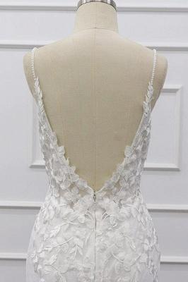 Chicloth Best Spaghetti Strap Appliques Mermaid Wedding Dress_9