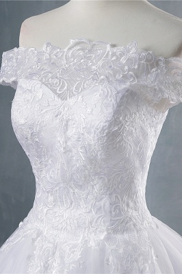 Chicloth Elegant Appliques Lace Tulle A-line Wedding Dress_5