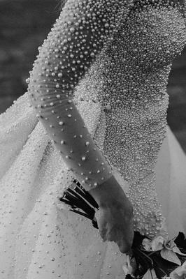 Chicloth Precious Long Sleeve Beading Sheath Wedding Dress_5