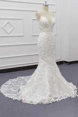 Chicloth Best Spaghetti Strap Appliques Mermaid Wedding Dress_4