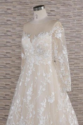 Chicloth Illusion Long Sleeve Applqiues Tulle Wedding Dress_6