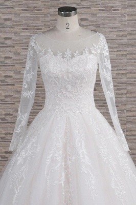 Chicloth Graceful Appliques Long Sleeve A-line Wedding Dress_5