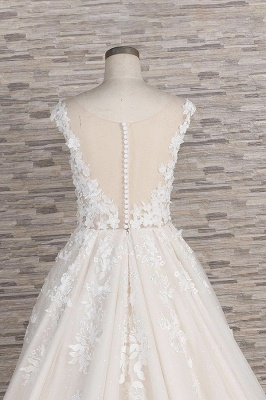 Chicloth Beautiful Lace Appliques Tulle A-line Wedding Dress_7