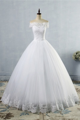 Chicloth Latest Lace-up Tulle Appliques A-line Wedding Dress_1