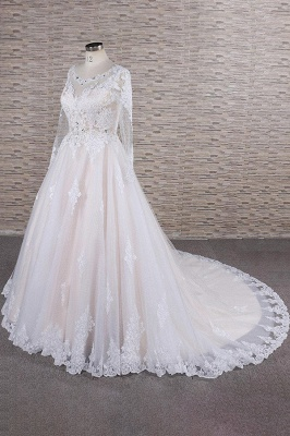 Chicloth Illusion Appliques Long Sleeve Tulle Wedding Dress_4