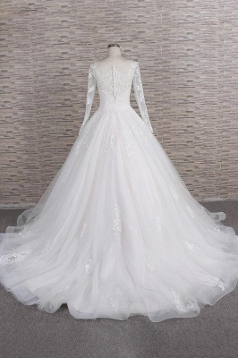 Chicloth Graceful Appliques Long Sleeve A-line Wedding Dress_3