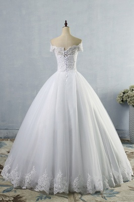Chicloth Latest Lace-up Tulle Appliques A-line Wedding Dress_3