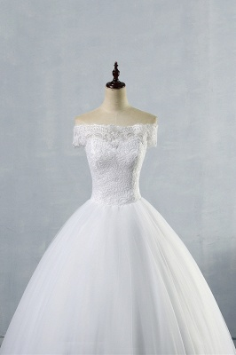 Chicloth Latest Lace-up Tulle Appliques A-line Wedding Dress_5