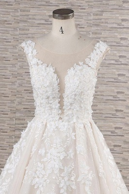 Chicloth Beautiful Lace Appliques Tulle A-line Wedding Dress_5