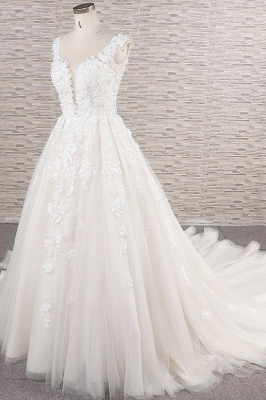 Chicloth Beautiful Lace Appliques Tulle A-line Wedding Dress_4