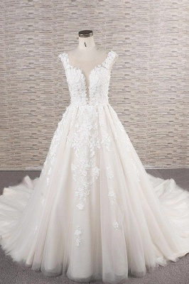 Chicloth Beautiful Lace Appliques Tulle A-line Wedding Dress_1