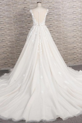 Chicloth Beautiful Lace Appliques Tulle A-line Wedding Dress_3