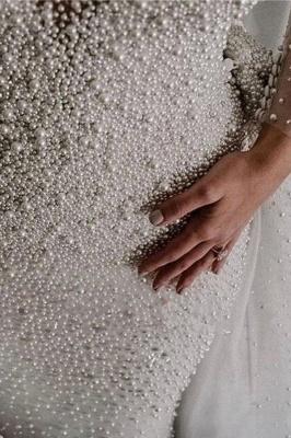 Chicloth Precious Long Sleeve Beading Sheath Wedding Dress_6