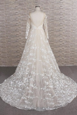 Chicloth Illusion Long Sleeve Applqiues Tulle Wedding Dress_3