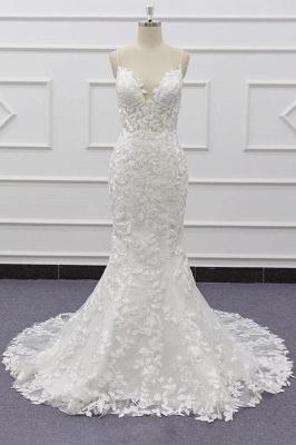 Chicloth Best Spaghetti Strap Appliques Mermaid Wedding Dress_1