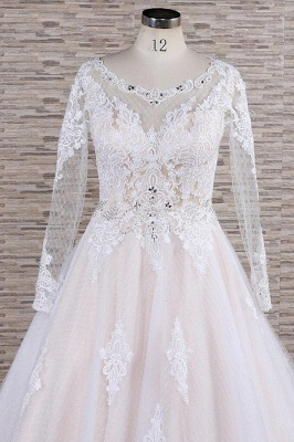 Chicloth Illusion Appliques Long Sleeve Tulle Wedding Dress_5