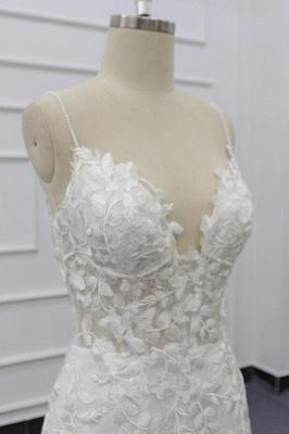 Chicloth Best Spaghetti Strap Appliques Mermaid Wedding Dress_7
