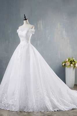 Chicloth Elegant Appliques Lace Tulle A-line Wedding Dress_4