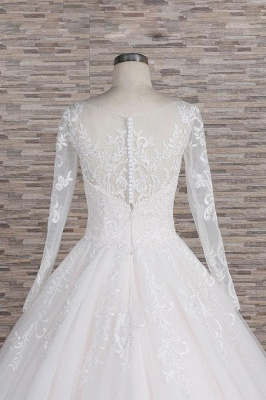 Chicloth Graceful Appliques Long Sleeve A-line Wedding Dress_7