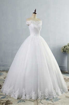 Chicloth Latest Lace-up Tulle Appliques A-line Wedding Dress_4