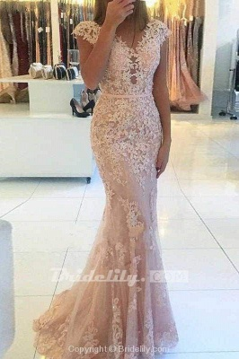 Chicloth Mermaid Cap Sleeves Tulle Prom with Lace Appliques Long V Neck Evening Dress_2