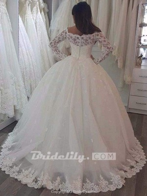 Chicloth Elegant Bateau Long Sleeves Lace Ball Gown Wedding Dresses_2