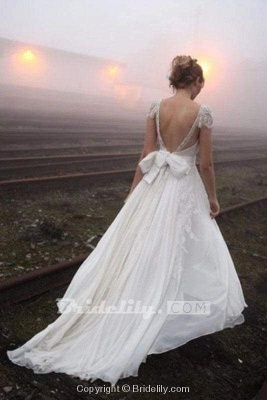 Chicloth Romantic V Neck Cap Sleeves Chiffon Beach Wedding Dress_2