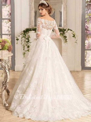 Chicloth Off-the-Shoulder Tulle Ruffles Wedding Dresses_2