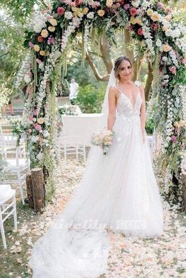 Chicloth Deep V-neck Beading Straps Tulle Appliques A-line Custom Beach Wedding Dress_4