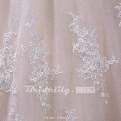 Chicloth Gorgeous Sheer Neck Cap Sleeves Lace Appliques A Line Wedding Dress_6