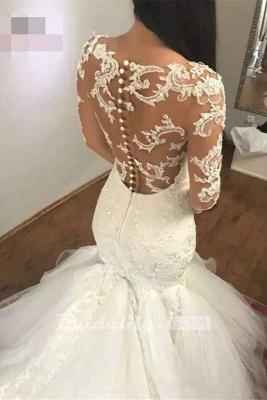 Chicloth Mermaid Sleeves V Neck Long Lace Appliques Wedding Dress_2