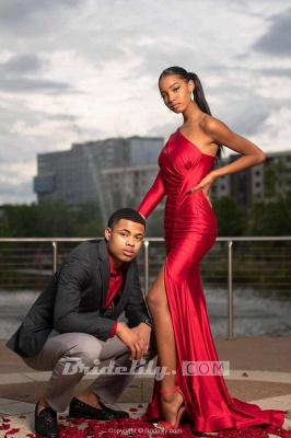 Chicloth Red Asymmetrical Floor Length Prom Dresses_3