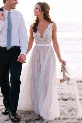 Chicloth Elegant A Line Scoop Neck Sleeveless Lace Tulle Beach Wedding Dress_1