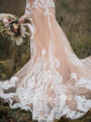 Chicloth Amazing Long Sleeves Boho Lace Appliques Wedding Dress_5