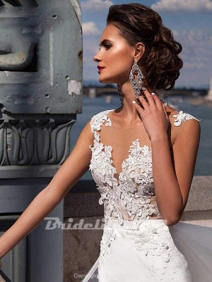 Chicloth Popular Appliques Sweep Train Mermaid Wedding Dresses_4