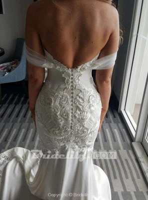 Chicloth Gorgeous Mermaid Off the Shoulder Lace Appliques Wedding Dress_3