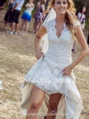 Chicloth V Neck Cap Sleeves Floor Length Lace Wedding Dresses_2