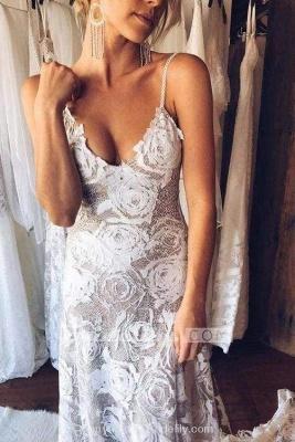 Chicloth Spaghetti Straps Backless Lace Boho Wedding Dress_3