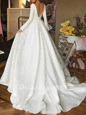 Chicloth Elegant V-Neck Covered Button A-Line Wedding Dresses with Long Sleeves_3